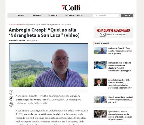 """7 Colli -Ambrogio Crespi: """"Quel no alla 'Ndrangheta a San Luca"""" (video)"""