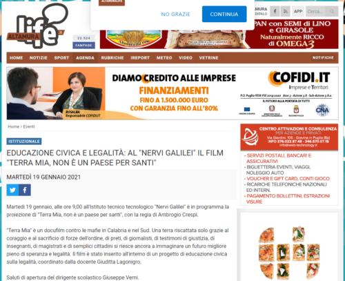 """Altamura Live: Educazione civica e legalità al """"Nervi Galilei"""" il film """"Terra Mia, non è un Paese per Santi"""""""