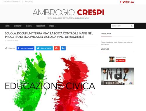 """Ambrogio Crespi: Scuola, docufilm """"Terra Mia"""": la lotta contro le mafie nel progetto di ed. civica del Liceo Da vinci di Maglie (LE)"""