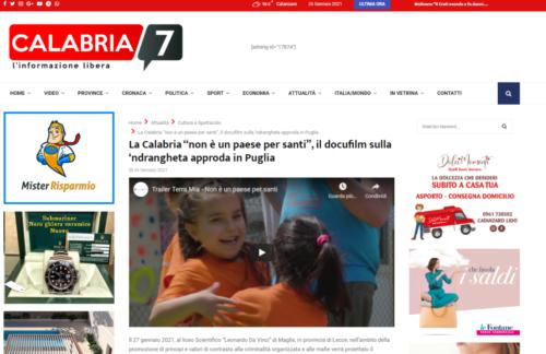 """Calabria 7: La Calabria """"non è un paese per santi"""", il docufilm sulla 'ndrangheta approda in Puglia"""