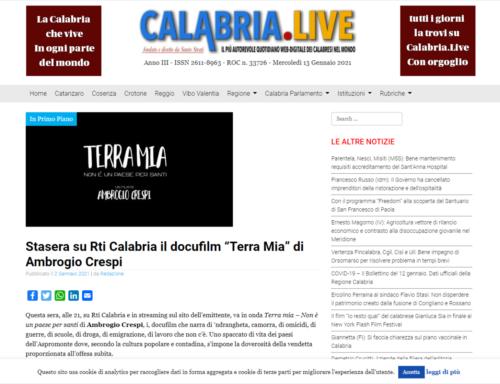 """Calabria Live: Stasera su Rti Calabria il docufilm """"Terra Mia"""" di Ambrogio Crespi"""