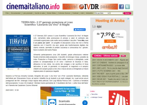 CinemaItaliano.info: Terra Mia - Il 27 gennaio proiezione al Liceo