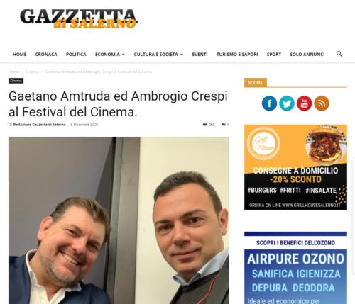 Gazzetta Di Salerno: Gaetano Amtruda ed Ambrogio Crespi al Festival del Cinema.