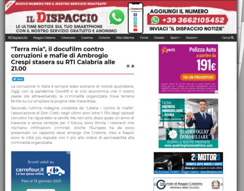 """Il Dispaccio: """"Terra mia"""" il docufilm contro corruzioni e mafie di Ambrogio Crespi stasera su RTI Calabria alle 21.00"""