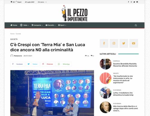 Il Pezzo Impertinente - C'è Crespi con 'Terra Mia' e San Luca dice ancora N0 alla criminalità