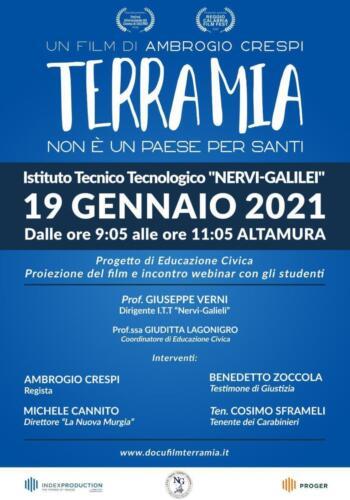 """""""Terra Mia"""" il 19 Gennaio 2021 all'Istituto Tecnologico """"Nervi-Galilei"""" con una proiezione speciale via webinar"""