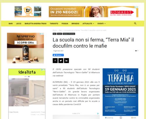 """Puglia News 24: La scuola non si ferma, """"Terra Mia"""" il docufilm contro le mafie"""