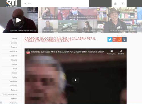 Rti Calabria Tv: Crotone: Successo anche in Calabria per il docufilm di Ambrogio Crespi
