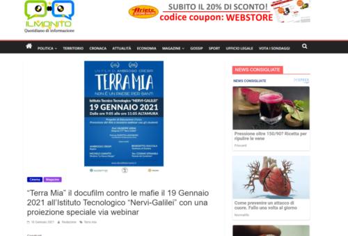 """Il Monito: """"Terra Mia"""" il docufilm contro le mafie il 19 gennaio 2021 all'Istituto Tecnologico """"Nervi-Galilei"""" con una proiezione speciale via webinar"""