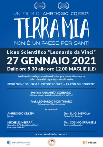 """""""Terra Mia"""" il 27 Gennaio 2021 proiezione al Liceo Scientifico """"Leonardo Da Vinci"""""""